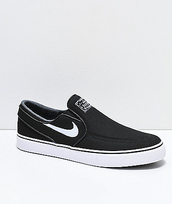 Nike SB Janoski Black & White Canvas Slip-On Skate Shoes