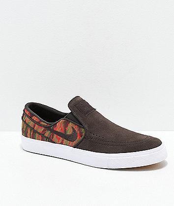 Nike SB Janoski Brown, White & Guatemalan Print Slip-On Skate Shoes