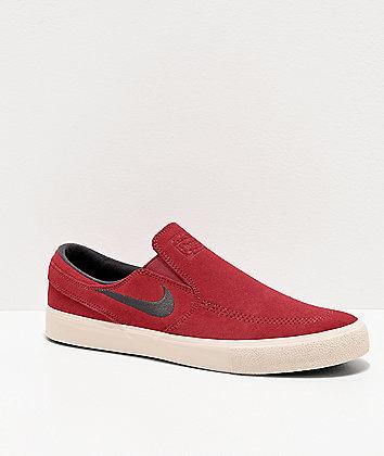 Nike SB Janoski Cedar & White Slip-On Suede Skate Shoes
