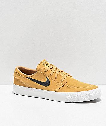Nike SB Janoski Gold, Anthracite & White Suede Skate Shoes