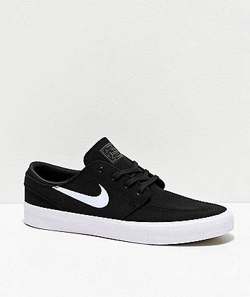 Nike SB Janoski RM Black & White Canvas Skate Shoes