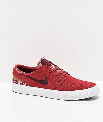 Nike SB Janoski RM Patchwork Cedar Red & White Skate Shoes