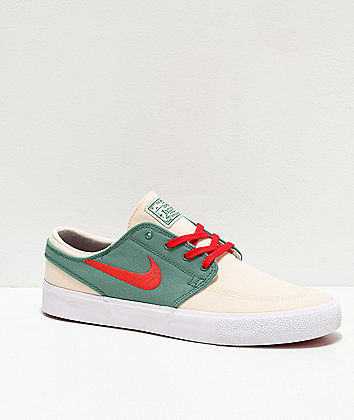 Nike SB Janoski RM Xmas Ivory, Red & Evergreen Canvas Skate Shoes