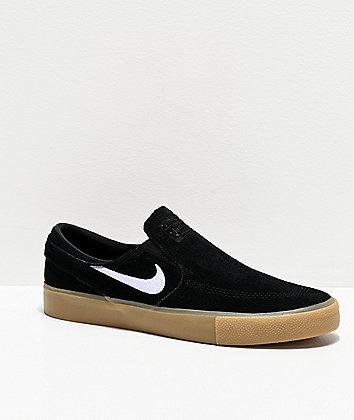 Nike SB Janoski Slip-On RM Black & Gum Suede Skate Shoes