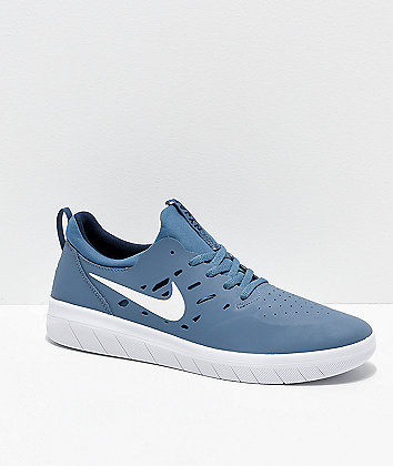 Nike SB Nyjah Free Thunderstorm Blue & White Skate Shoes