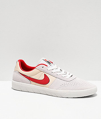 Nike SB Team Classic Phantom Grey, Red & White Skate Shoes