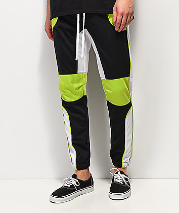 Ninth Hall Nordberg Moto Black, Green & White Track Pants