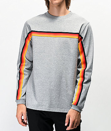 Ninth Hall Race Taped Grey Long Sleeve Knit T-Shirt