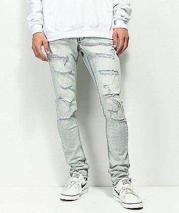 Ninth Hall Rogue Axel jeans desgastados de lavado azul claro