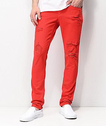 Ninth Hall Rogue Slashed jeans rojos ajustados