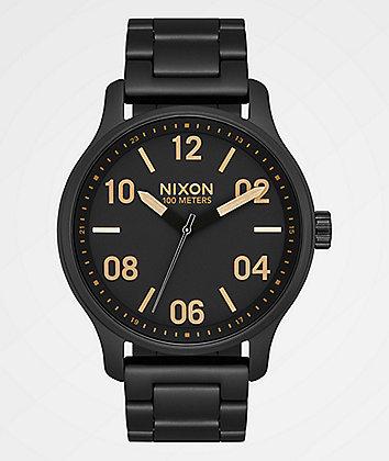 Nixon Patrol Matte Black & Gold Watch