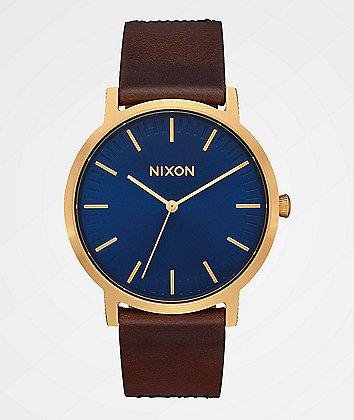 Nixon Porter Leather Navy, Brown & Black Gator Analog Watch
