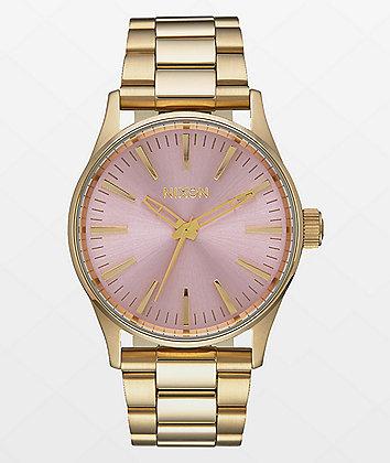 Nixon Sentry 38 SS Light Gold & Pink Watch