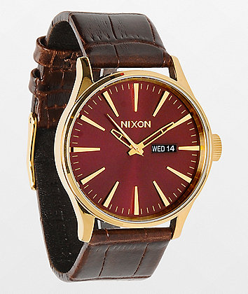 Nixon Sentry Gold, Oxblood Sunray & Brown Gator Leather Analog Watch
