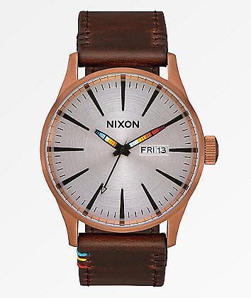 Nixon Sentry Leather Serape Analog Watch