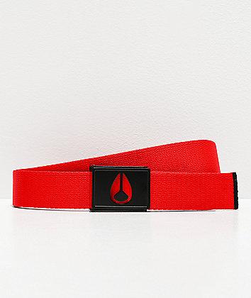 Nixon Spy Black & Red Web Belt