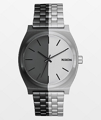 Nixon Time Teller Asymmetrical Black & Silver Analog Watch