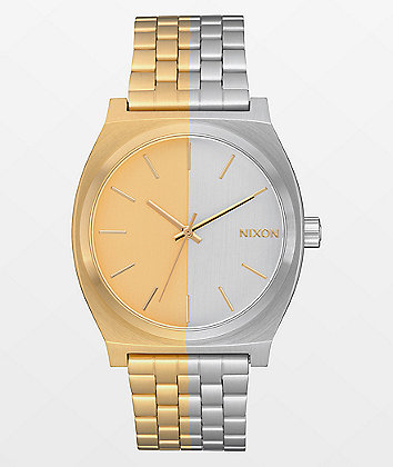 Nixon Time Teller Asymmetrical Gold & Silver Analog Watch