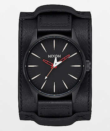 Nixon x Metallica Sentry Leather Seek & Destroy Black Watch