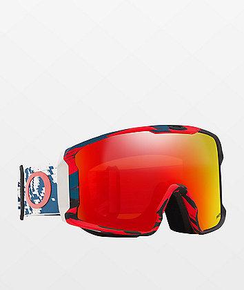 Oakley Line Miner Sammy Carlson Razor gafas de snowboard de camuflaje rojo y azul