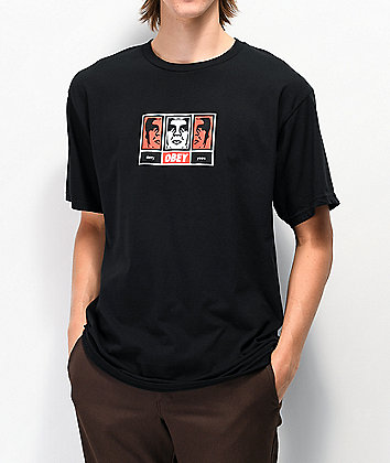 Obey 30 Years of Dissent 3 Faces Black T-Shirt