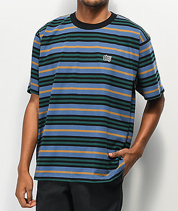 Obey Access Stripe Navy T-Shirt