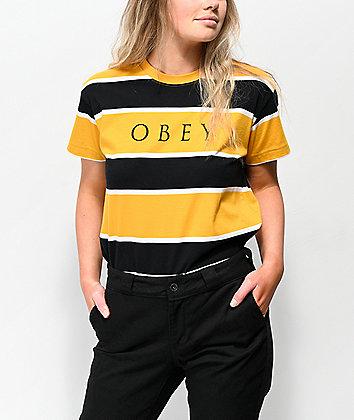 Obey Acid Box Black & Yellow Stripe T-Shirt