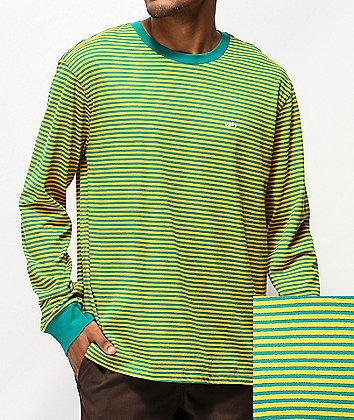 Obey Apex Blue-Green & Gold Stripe Long Sleeve T-Shirt