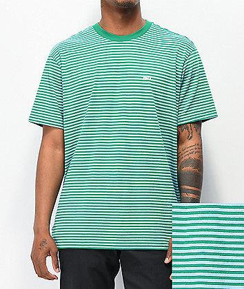 Obey Apex Green Striped T-Shirt