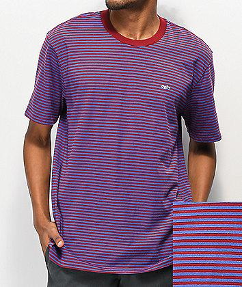 Obey Apex Red & Blue Stripe Knit T-Shirt