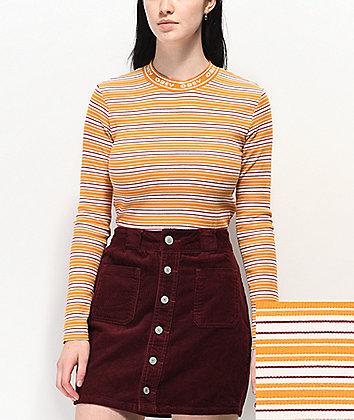Obey Blair Yellow, White & Red Stripe Long Sleeve T-Shirt