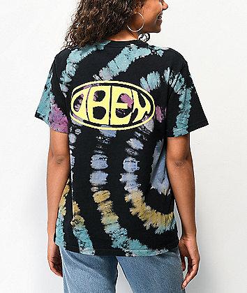 Obey Bumper Black & Rainbow Tie Dye T-Shirt