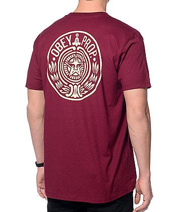 Obey Circular Wreath Burgundy T-Shirt