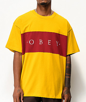 Obey Conrad Gold & Burgundy Knit T-Shirt