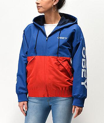 Obey Drop Shoulder Red & Blue Windbreaker Jacket