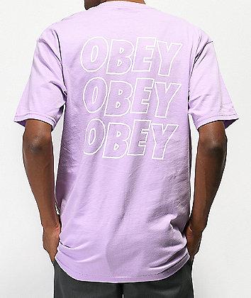 Obey Jumbled Eyes Lavender T-Shirt