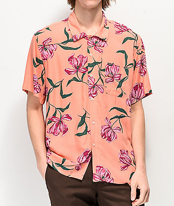 Obey Lily Coral Woven Short Sleeve Button Up Shirt