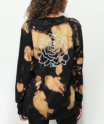 Obey Mira Rosa Box Bleached Black Long Sleeve