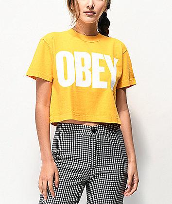 Obey Mom Jeans Mango Mock Neck Crop T-Shirt