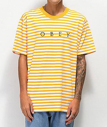 Obey Novel Yellow Striped T-Shirt
