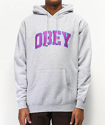 Obey Sports II Grey & Purple Hoodie