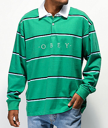Obey Washer Green Long Sleeve Polo Shirt