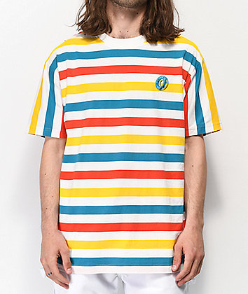 Odd Future Big Stripe White, Orange, Yellow and Blue T-Shirt