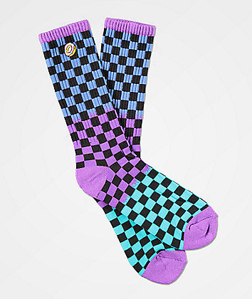 Odd Future Checkered Black, Purple & Green Crew Socks