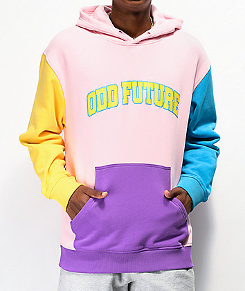 Odd Future Collegiate Pink, Blue & Yellow Colorblock Hoodie