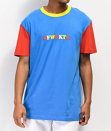 Odd Future Colorblocked Red, Yellow & Blue T-Shirt