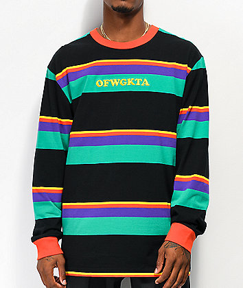 Odd Future Multi Stripe Black Long Sleeve Knit Shirt