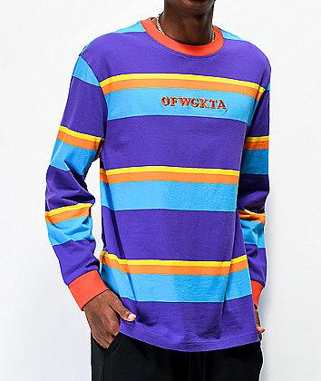Odd Future Multi Stripe Purple Long Sleeve Knit T-Shirt