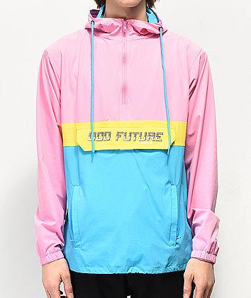 Odd Future Neon Colorblock Pink, Yellow & Blue Anorak Jacket
