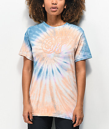 Odd Future Puff Print Blue & Orange Tie Dye T-Shirt